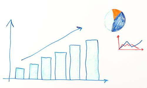 Billede af en tavle med statistik